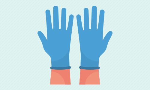 感染防止用手袋のイラスト
